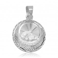 Wholesale Sterling Silver 925 High Polished DC Baptism Medallion Charm - JCA038-7