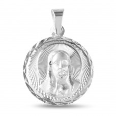 Wholesale Sterling Silver 925 High Polished Diamond Cut Jesus Medallion - JCA041-3