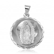 Wholesale sterling Silver 925 High Polished DC Our Lady of Guadalupe Round Medallion Charm Pendant - JCA045-1