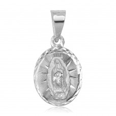 Wholesale Sterling Silver 925 High Polished DC Our Lady of Guadalupe Charm Pendant - JCA047-1