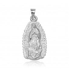 Wholesale Sterling Silver 925 High Polished Small Our Lady of Guadalupe Pendant - JCA068-1