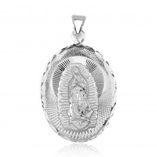 Wholesale Sterling Silver 925 High Polished Diamond Cut Lady of Guadalupe Medallion Pendant - JCA097-1