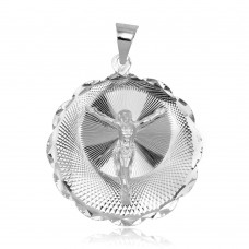 Wholesale Sterling Silver 925 High Polished DC Wavy Edge Round Crucifix Medallion Pendant - JCA098-6