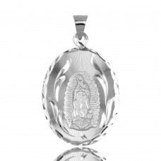 Wholesale Sterling Silver 925 High Polished DC Oval Lady of Guadalupe Medallion Pendant - JCA099-1