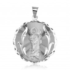 Wholesale Sterling Silver 925 High Polished DC Round St. Jude Medallion Pendant - JCA100-5
