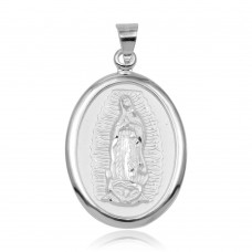 Wholesale Sterling Silver 925 High Polished Edge Lady of Guadalupe Medallion Pendant - JCA101-1