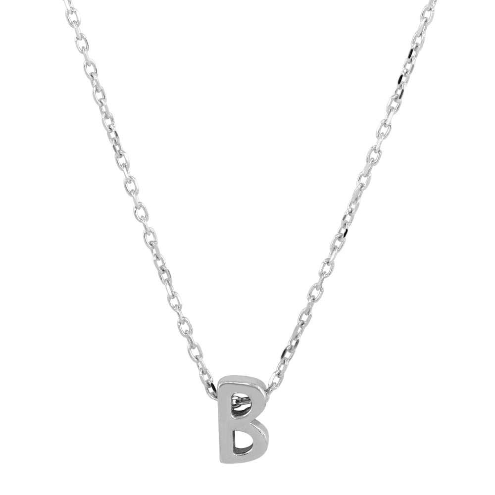 Wholesale Sterling Silver 925 Rhodium Plated Small Initial B Necklace - JCP00001-B