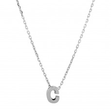 Sterling Silver Rhodium Plated Small Initial C Necklace - JCP00001-C
