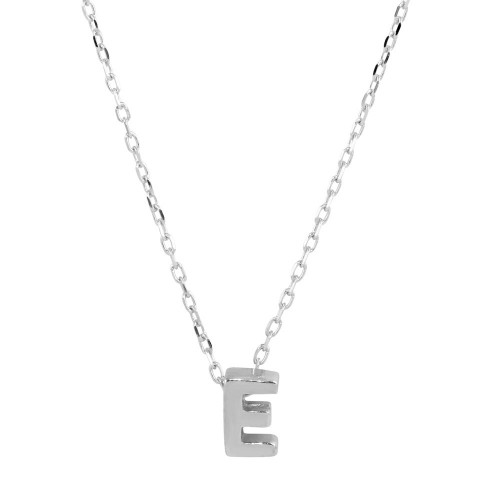 Wholesale Sterling Silver 925 Rhodium Plated Small Initial E Necklace - JCP00001-E