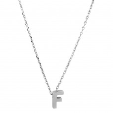Sterling Silver Rhodium Plated Small Initial F Necklace - JCP00001-F