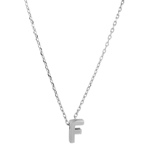 Wholesale Sterling Silver 925 Rhodium Plated Small Initial F Necklace - JCP00001-F