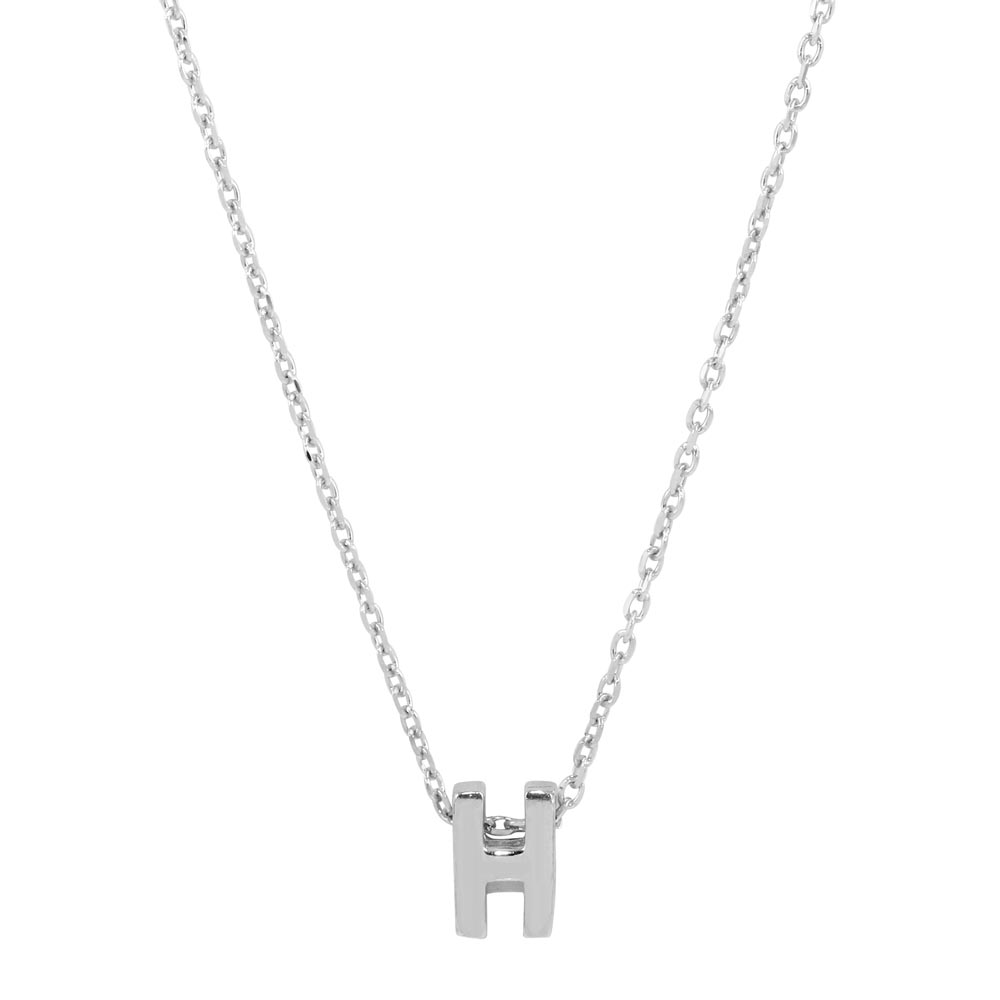 Wholesale Sterling Silver 925 Rhodium Plated Small Initial H Necklace - JCP00001-H