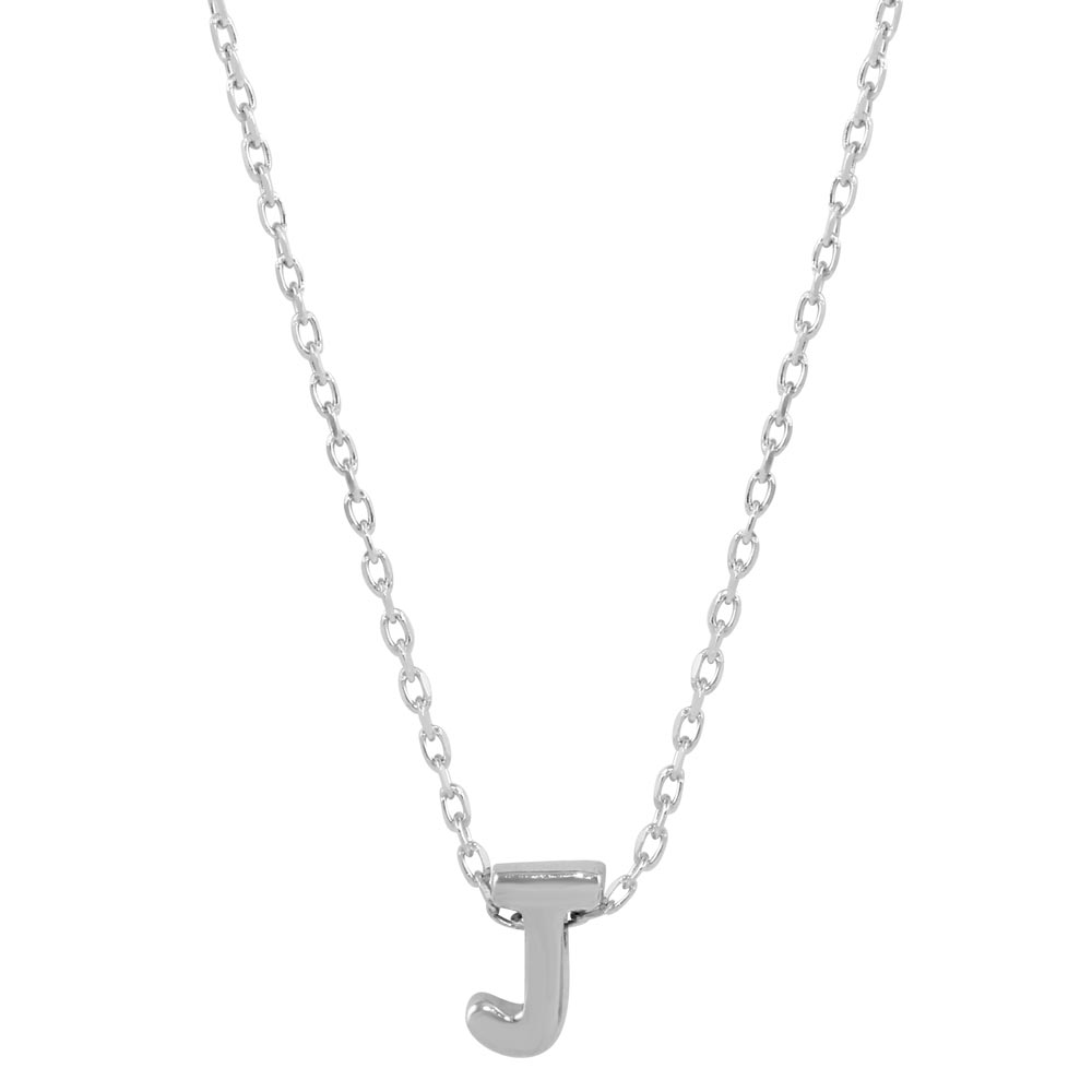 Wholesale Sterling Silver 925 Rhodium Plated Small Initial J Necklace - JCP00001-J