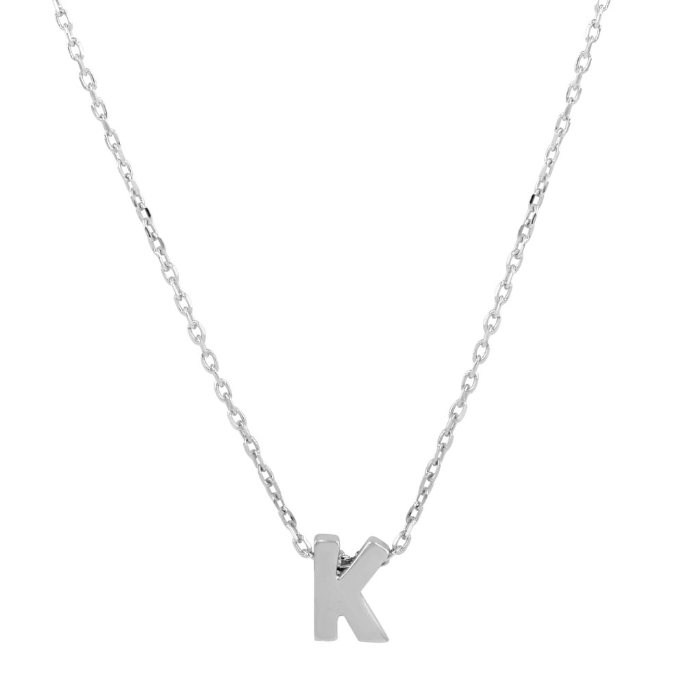Wholesale Sterling Silver 925 Rhodium Plated Small Initial K Necklace - JCP00001-K