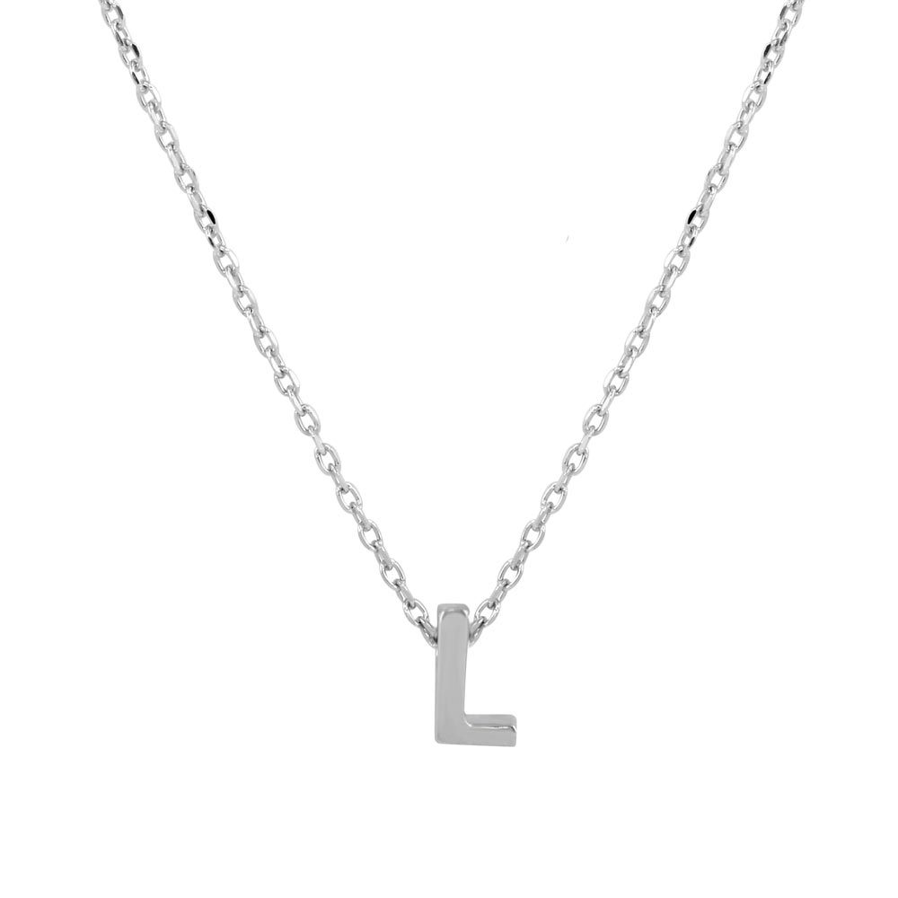 Wholesale Sterling Silver 925 Rhodium Plated Small Initial L Necklace - JCP00001-L
