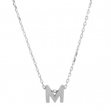 Sterling Silver Rhodium Plated Small Initial M Necklace - JCP00001-M