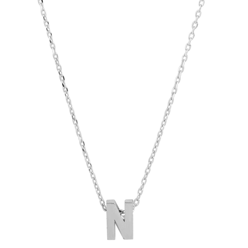 Wholesale Sterling Silver 925 Rhodium Plated Small Initial N Necklace - JCP00001-N