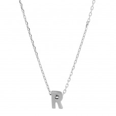 Sterling Silver Rhodium Plated Small Initial R Necklace - JCP00001-R