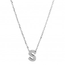 Sterling Silver Rhodium Plated Small Initial S Necklace - JCP00001-S