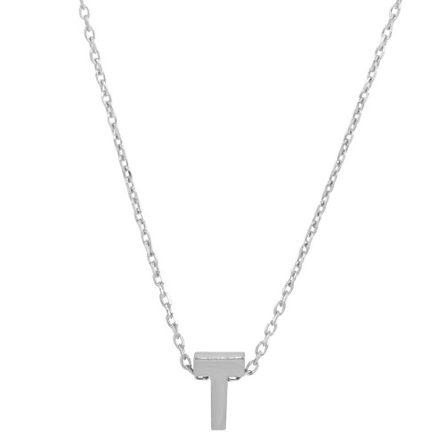 Wholesale Sterling Silver 925 Rhodium Plated Small Initial T Necklace - JCP00001-T
