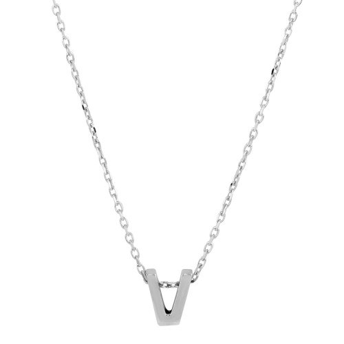 Wholesale Sterling Silver 925 Rhodium Plated Small Initial V Necklace - JCP00001-V