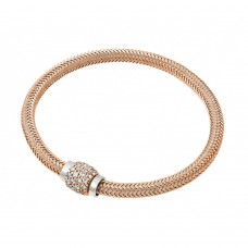 Sterling Silver Rose Gold Plated Micro Pave Clear CZ Italian Bracelet - JPB00007RGP