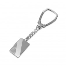 Sterling Silver High Polished Rectangle With Design Key Chain - KEYCHAIN10