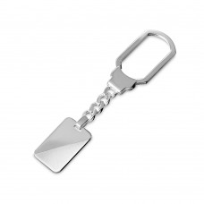 Sterling Silver Rectangle High Polished With Design Keychain - KEYCHAIN15