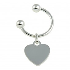 Sterling Silver High Polished U-Shaped Keychain with Heart Charm - KEYCHAIN20
