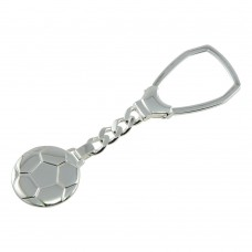 Sterling Silver High Polished Soccer Ball Keychain - KEYCHAIN23