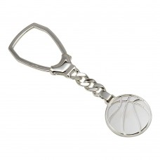 Sterling Silver Rhodium Plated Basketball Keychain - KEYCHAIN26