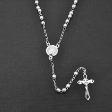 Sterling Silver High Polished Rosary With Large Crucifix 4mm - ROS13-4MM