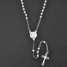 Sterling Silver High Polished Rosary With Small Cross 4mm - ROS13-4MM-22SM