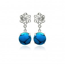 Wholesale Sterling Silver 925 Rhodium Plated Turquoise Clear CZ Flower Dangling Stud Earrings - BGE00260