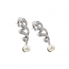 Sterling Silver Rhodium Plated Clear CZ Pearl Twist Dangling Stud Earring - BGE00399
