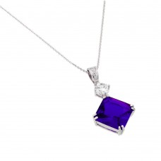 Wholesale Sterling Silver 925 Rhodium Plated Purple CZ Square Pendant - BGP00727