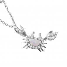 Wholesale Sterling Silver 925 Rhodium Plated Crescent Opal Round CZ Crab Pendant Necklace - BGP01041