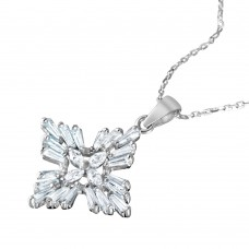 Wholesale Sterling Silver 925 Rhodium Plated Baguette and Marquise CZ Cross Pendant Necklace - BGP01045