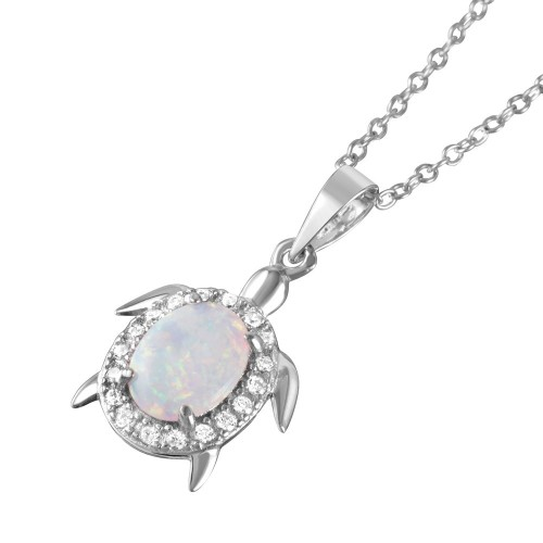 Wholesale Sterling Silver 925 Rhodium Plated Oval Opal Clear CZ Tiny Turtle Pendant Necklace - BGP01048