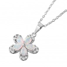 Wholesale Sterling Silver 925 Rhodium Plated Clear CZ Flower Pear Opal Pendant Necklace - BGP01050