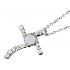 Wholesale Sterling Silver 925 Rhodium Plated Round Opal Clear CZ Cross Pendant Necklace - BGP01051