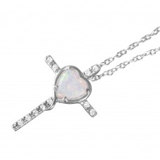 Wholesale Sterling Silver 925 Rhodium Plated Heart Opal Clear CZ Cross Pendant Necklace - BGP01055