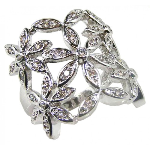 **Closeout** Wholesale Sterling Silver 925 Rhodium Plated Clear CZ Flower Ring - BGR00061