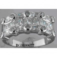 **Closeout** Wholesale Sterling Silver 925 Rhodium Plated Multi Shaped Clear CZ Ring - BGR00077