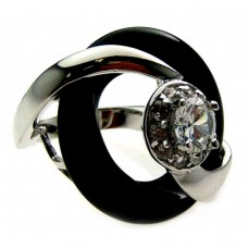 **Closeout** Wholesale Sterling Silver 925 Rhodium and Black Rhodium Plated Center CZ Black Onyx Ring - BGR00165