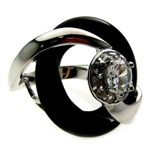 -Closeout- Wholesale Sterling Silver 925 Rhodium and Black Rhodium Plated Center CZ Black Onyx Ring - BGR00165