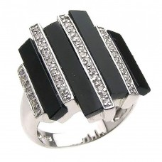 **Closeout** Wholesale Sterling Silver 925 Rhodium Plated Multiple Onyx Clear CZ Bars Ring - BGR00166