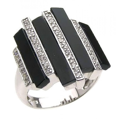 -Closeout- Wholesale Sterling Silver 925 Rhodium Plated Multiple Onyx Clear CZ Bars Ring - BGR00166