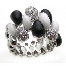 **Closeout** Wholesale Sterling Silver 925 Rhodium Plated Multi Shaped Onyx White Enamel Clear CZ Ring - BGR00168