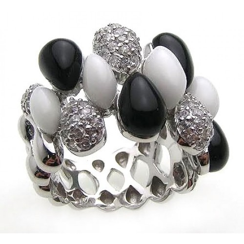 -Closeout- Wholesale Sterling Silver 925 Rhodium Plated Multi Shaped Onyx White Enamel Clear CZ Ring - BGR00168
